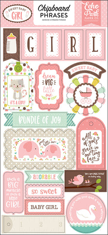 Echo Park Chipboard - Sweet Baby Girl - Phrases