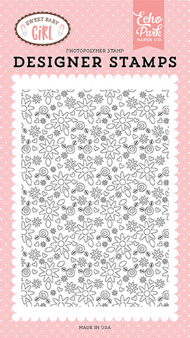 Echo Park Background Stamp - Sweet Baby Girl - Bundle of Joy Floral