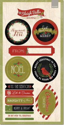 My Mind's Eye Long Cardstock Stickers - Sleigh Bells Ring Labels
