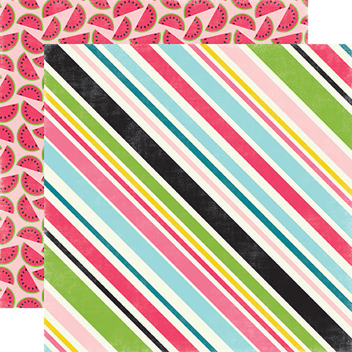 Echo Park Papers - Summer Fun - Sweet Stripe - 2 Sheets