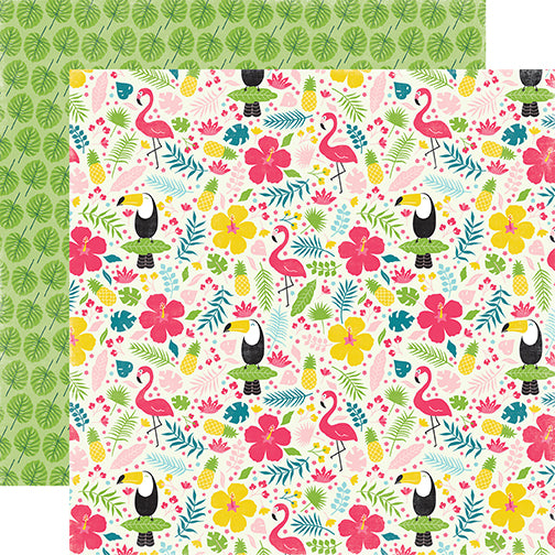 Echo Park Papers - Summer Fun - Tropical Floral - 2 Sheets