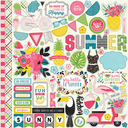 Echo Park 12x12 Cardstock Stickers - Summer Fun - Elements