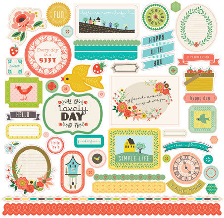 Echo Park 12x12 Cardstock Stickers - Simple Life - Elements