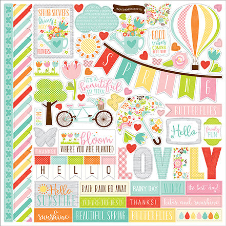 Echo Park 12x12 Cardstock Stickers - Spring - Elements