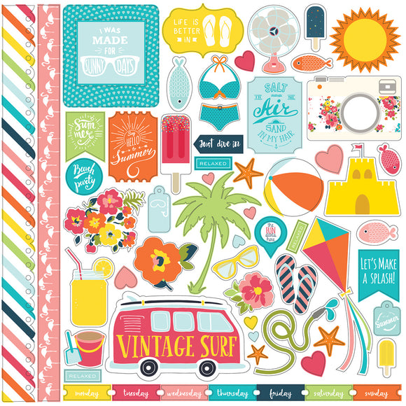 Echo Park 12x12 Cardstock Stickers - Summer Party - Elements