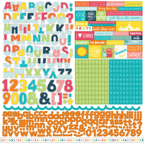 Echo Park 12x12 Cardstock Stickers - Summer Party - Alpha