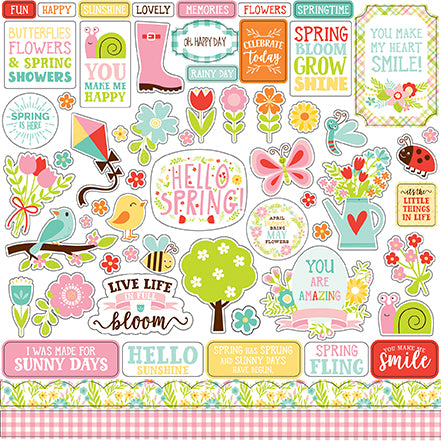Echo Park 12x12 Cardstock Stickers - Spring Fling - Elements