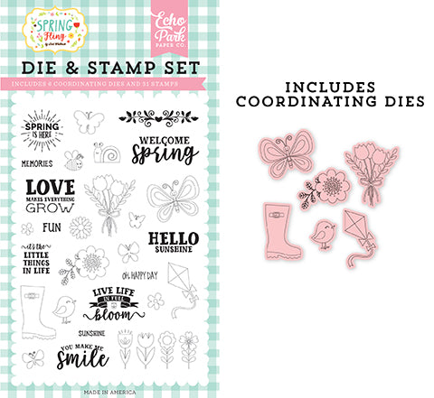 Echo Park Stamp and Die Set - Spring Fling - Spring Is Here