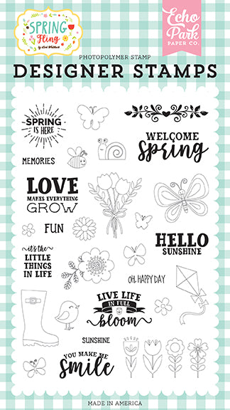 Echo Park Clear Stamp Set - Spring Fling - Spring Is Here
