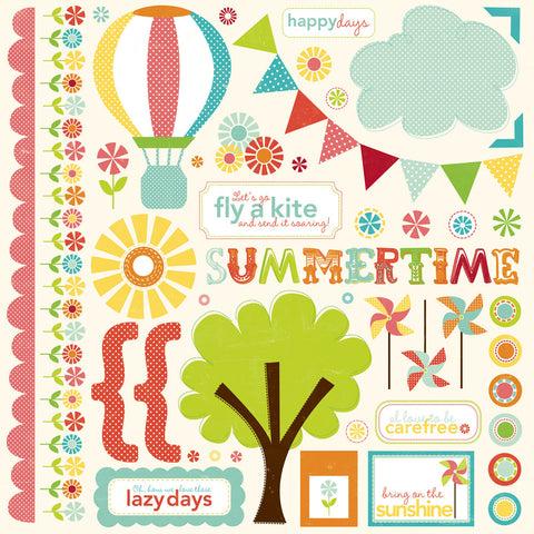 Echo Park 12x12 Cardstock Stickers - Sweet Summertime - Elements