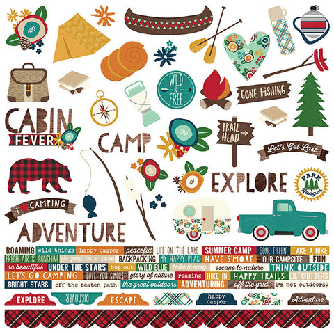 Simple Stories 12x12 Cardstock Stickers - Cabin Fever - Combo