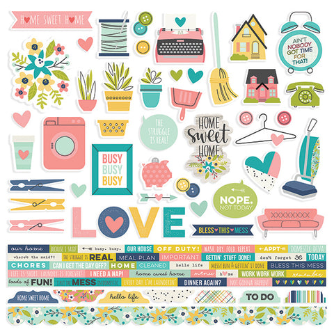 Simple Stories 12x12 Cardstock Stickers - Domestic Bliss - Combo