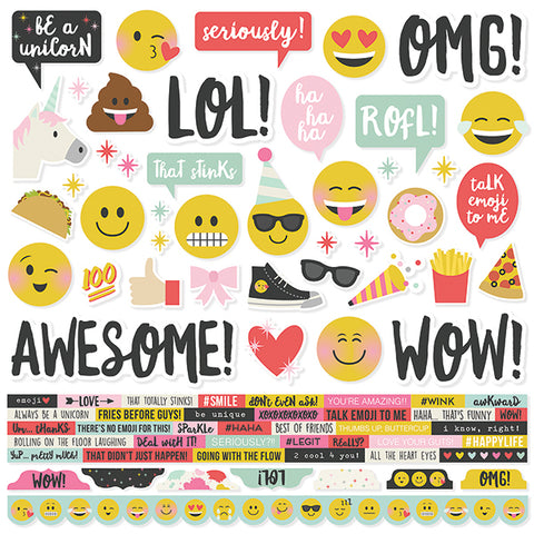 Simple Stories 12x12 Cardstock Stickers - Emoji Love - Combo