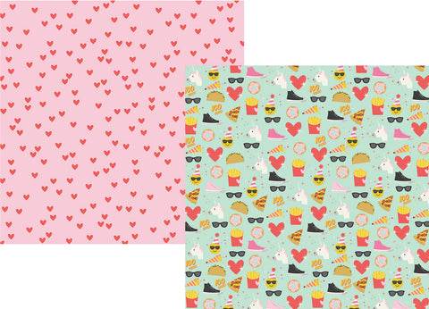 Simple Stories Papers - Emoji Love - Choose Happy - 2 Sheets