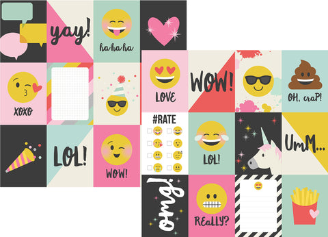 Simple Stories Papers - Emoji Love - 4x3 Journaling Elements - 2 Sheets