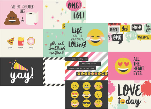 Simple Stories Papers - Emoji Love - 4x6 Horizontal Elements - 2 Sheets