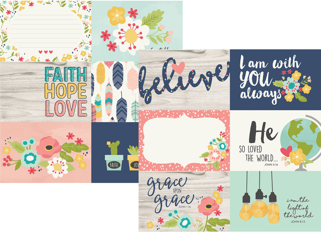 Simple Stories Papers - Faith - 4x6 Horizontal Elements - 2 Sheets