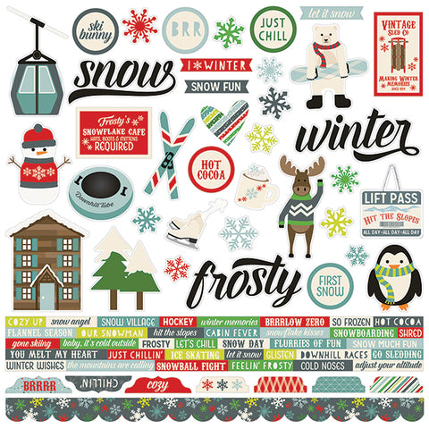 Simple Stories 12x12 Cardstock Stickers - Sub Zero - Combo