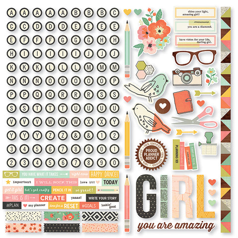 Simple Stories 12x12 Cardstock Stickers - Reset Girl - Combo
