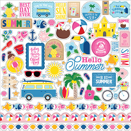 Echo Park 12x12 Cardstock Stickers - I Love Summer - Elements