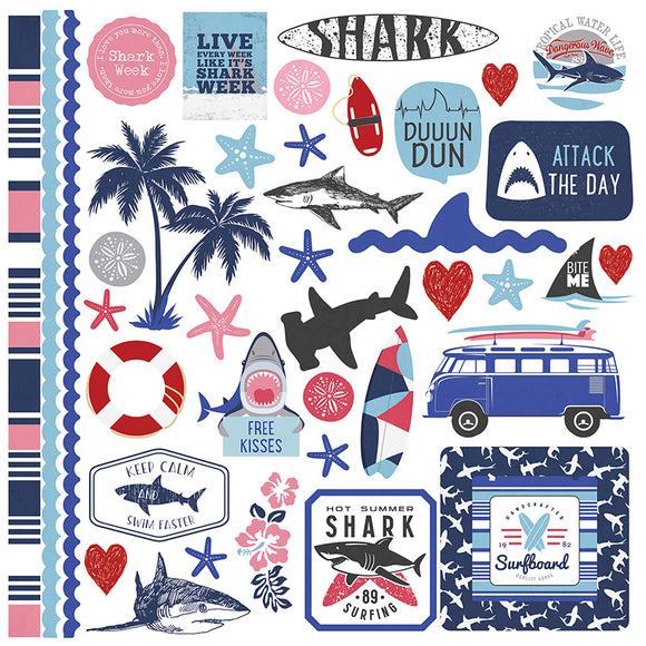 Photo Play 12x12 Cardstock Stickers - Shark Attack - Elements