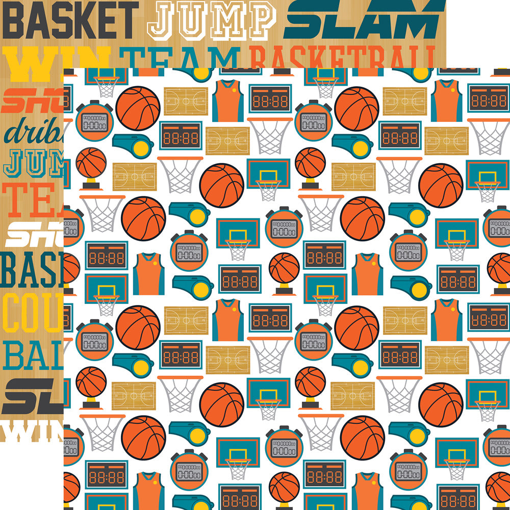 Echo Park Papers - Basketball - Basketball Icons - 2 Sheets