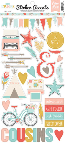 Echo Park Cardstock Stickers - Cousins - Girl