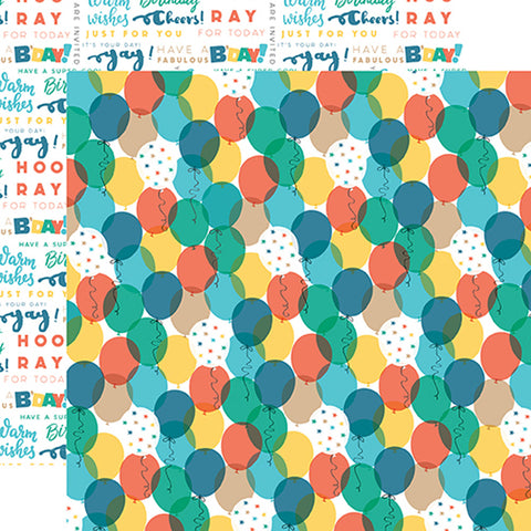 Echo Park Papers - Birthday Boy - Balloons - 2 Sheets