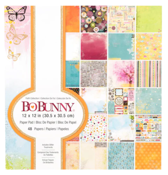 Bo Bunny 12x12 Paper Pad with Glitter Accents - Faith