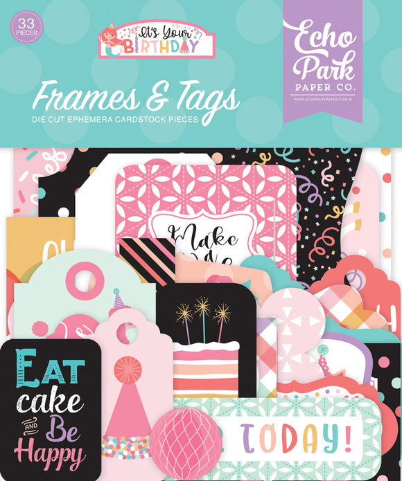 Echo Park Frames & Tags Die-Cuts - It's Your Birthday - Girl