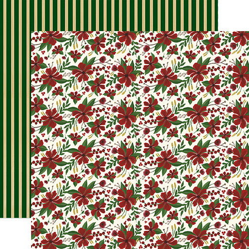 Echo Park Papers - Twas the Night Before Christmas - Merry Flowers - 2 Sheets