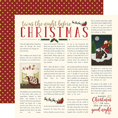 Echo Park Papers - Twas the Night Before Christmas - Twas the Night - 2 Sheets