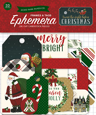 Echo Park Ephemera Die-Cuts - Twas the Night Before Christmas - Frames & Tags