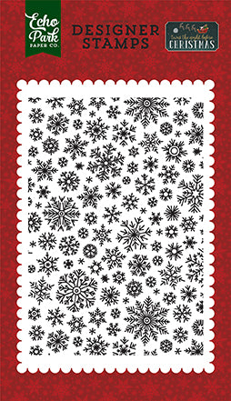 Echo Park Background Stamp - Twas the Night Before Christmas - Shimmering Snowflakes