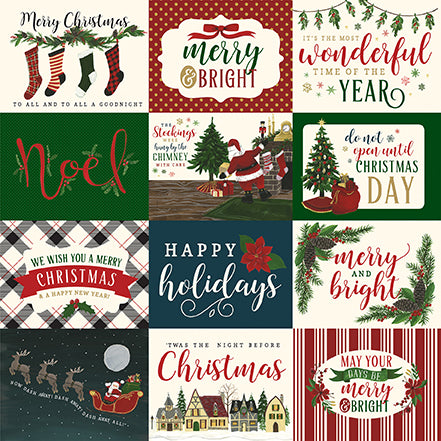 Echo Park Cut-Outs - Twas the Night Before Christmas - Horizontal 3x4 Journaling Cards