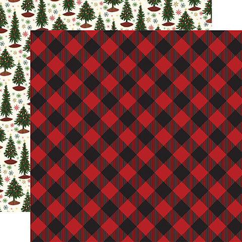 Echo Park Papers - Twas the Night Before Christmas - Red Buffalo Plaid - 2 Sheets