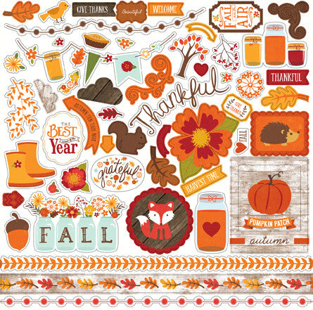 Echo Park 12x12 Cardstock Stickers - The Story of Fall - Elements
