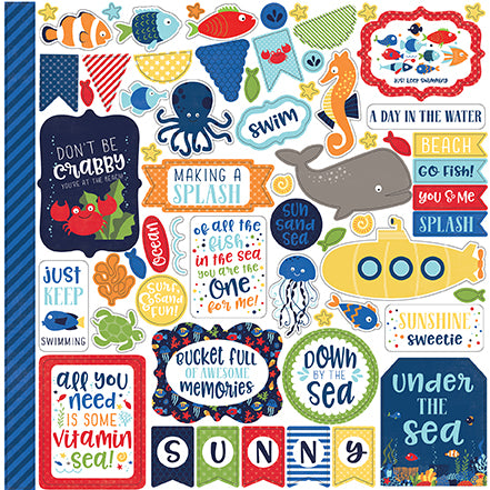 Echo Park 12x12 Cardstock Stickers - Under the Sea - Elements