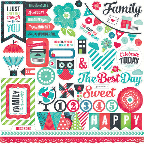 Echo Park 12x12 Cardstock Stickers - We Are Family - Elements