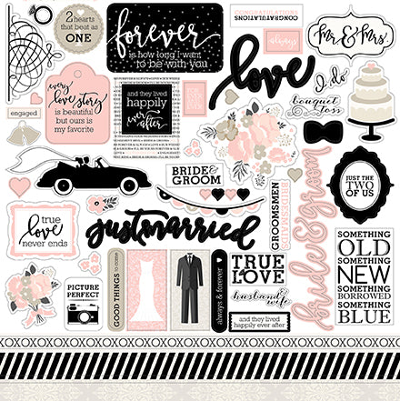 Echo Park 12x12 Cardstock Stickers - Wedding Bliss - Elements