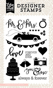 Echo Park Clear Stamp Set - Wedding Bliss - Mr. and Mrs.