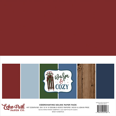 Echo Park Solids Paper Pack - Warm & Cozy - Solid Paper Pack