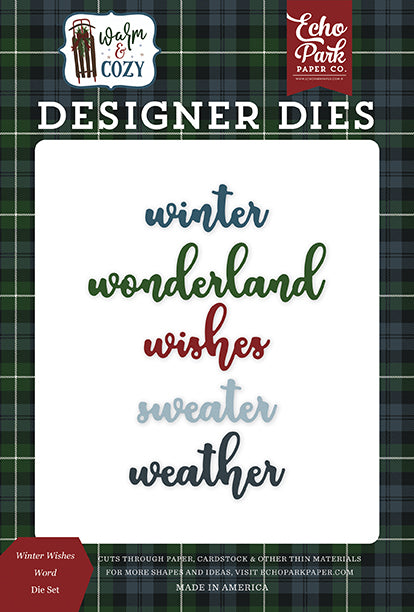 Echo Park Designer Dies - Warm & Cozy - Winter Word Die Set