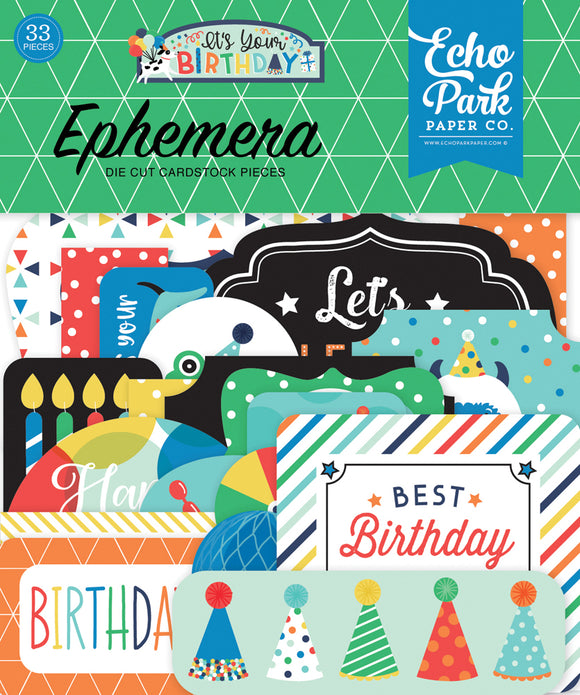 Echo Park Ephemera Die-Cuts - It's Your Birthday - Boy