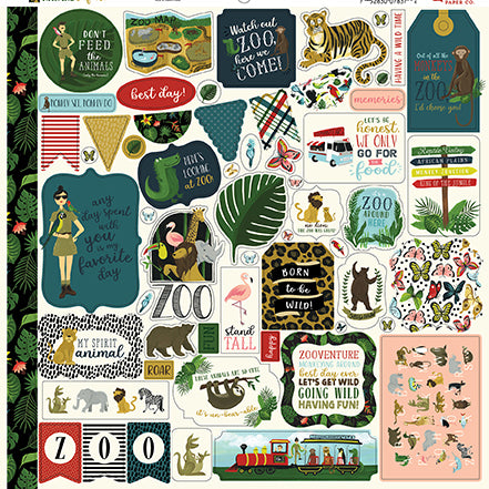 Echo Park 12x12 Cardstock Stickers - Animal Safari - Elements