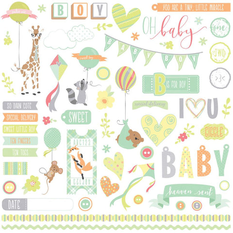 Photo Play 12x12 Cardstock Stickers - About a Little Boy - Elements