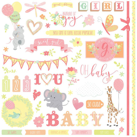 Photo Play 12x12 Cardstock Stickers - About a Little Girl - Elements