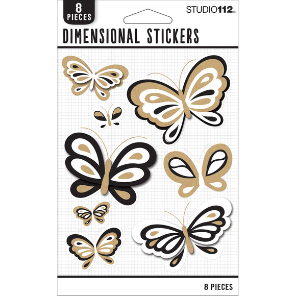K&Company Studio 112 - Neutral Dimensional Stickers - Butterflies