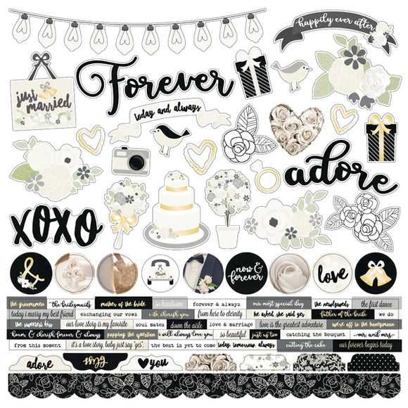Simple Stories 12x12 Cardstock Stickers - Always & Forever - Combo