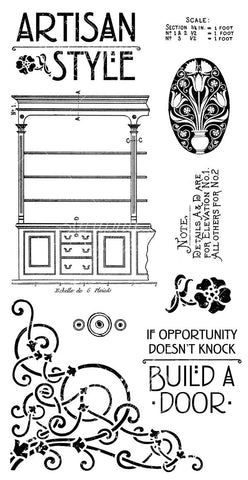 Graphic 45 Cling Mounted Rubber Stamp Set - Artisan Style (A)